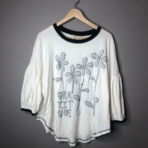 Free people gratitude floral white blouse top